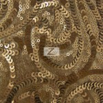 Curly Sequin Mesh Fabric Bronze
