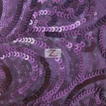 Curly Sequin Mesh Fabric Purple