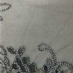 Dahlia Flower Sequins Mesh Fabric Black