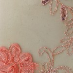 Dahlia Flower Sequins Mesh Fabric Coral