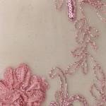 Dahlia Flower Sequins Mesh Fabric Dusty Rose