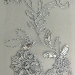 Dahlia Flower Sequins Mesh Fabric Gray