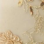 Dahlia Flower Sequins Mesh Fabric Khaki
