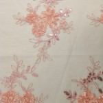 Dahlia Flower Sequins Mesh Fabric Pink
