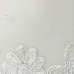 Dahlia Flower Sequins Mesh Fabric White