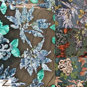 2 Tone Floral Burst Sequins Mesh Fabric