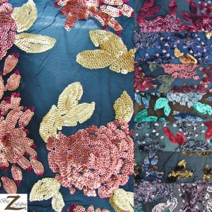 2 Tone Floral Bloom Sequins Mesh Fabric