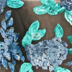 2 Tone Floral Bloom Sequins Mesh Fabric Blue Turquoise