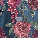 2 Tone Floral Bloom Sequins Mesh Fabric Burgundy Green