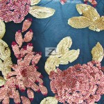 2 Tone Floral Bloom Sequins Mesh Fabric Coral Gold