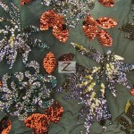2 Tone Floral Burst Sequins Mesh Fabric Brown Gold