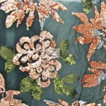 2 Tone Floral Burst Sequins Mesh Fabric Coral Green