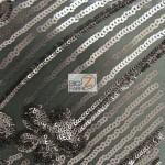 Cosmic Floral Sequins Mesh Fabric Gray