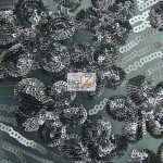 Cosmic Floral Sequins Mesh Fabric Gun Metal Gray