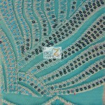 Designer Evening Dress Lace Sequins Fabric Royal Turquoise
