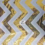 Chevron Zig Zag Sequins Taffeta Fabric Gold White