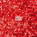 Rain Drop Sequin Stretch Velvet Fabric Red