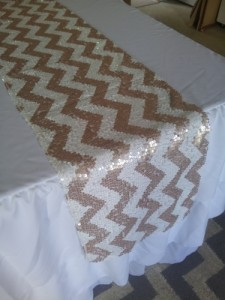 Chevron Sequins Fabric Table Runner