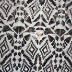 Aztec Sequins Dress Lace Fabric Black
