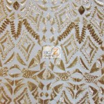 Aztec Sequins Dress Lace Fabric Matte Gold
