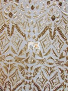 Aztec Sequins Dress Lace Fabric Matte Gold