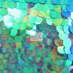 Big Dot Sequin Hologram Mesh Fabric Mermaid Green