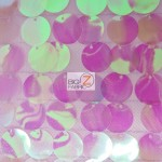 Big Dot Sequin Hologram Mesh Fabric Transparent Lilac