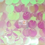 Big Dot Sequin Hologram Mesh Fabric Transparent Peach