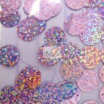 Big Dot Sequin Hologram Mesh Fabric Victorian Lilac