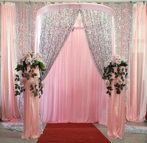 Micro Disk Sequin Mesh Fabric Wedding Curtain