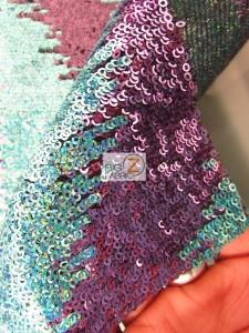 Wavy Flamingo Sequins Nylon Decorative Costume Fabric Close Up