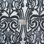 Angel Damask Sequins Sheer Lace Fabric Black