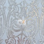 Angel Damask Sequins Sheer Lace Fabric Champagne