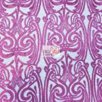 Angel Damask Sequins Sheer Lace Fabric Fuchsia