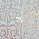 Angel Damask Sequins Sheer Lace Fabric Peach