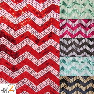Chevron Zig Zag Sequins Mesh Fabric
