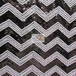 Chevron Zig Zag Sequins Mesh Fabric Black White