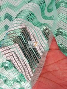 Chevron Zig Zag Sequins Mesh Fabric Close Up