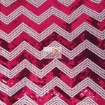 Chevron Zig Zag Sequins Mesh Fabric Fuchsia White
