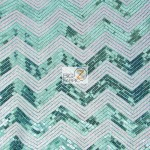 Chevron Zig Zag Sequins Mesh Fabric Turquoise White