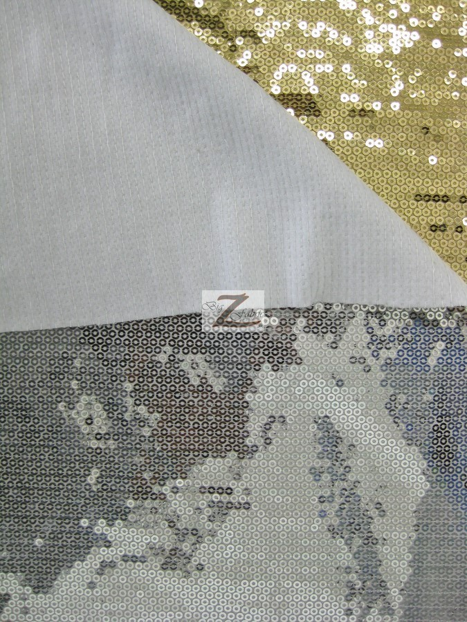 """MICRO DISC PAILLETTES SEQUIN SPANDEX FABRIC Shiny Silver 54/""""//55/"""" W SOLD BTY"""