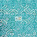 Butterfly Diamond Scalloped Sequin Fabric Aqua