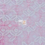 Butterfly Diamond Scalloped Sequin Fabric Pink