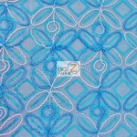 Butterfly Diamond Scalloped Sequin Fabric Turquoise