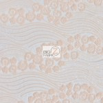 Cosmic Hollywood Wavy Floral Sequins Fabric Peach