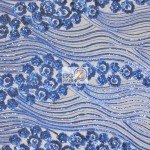 Cosmic Hollywood Wavy Floral Sequins Fabric Royal Blue