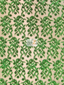 Divine Floral Sequins Mesh Fabric Green