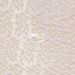 Divine Floral Sequins Mesh Fabric Ivory