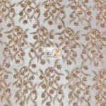 Divine Floral Sequins Mesh Fabric Taupe