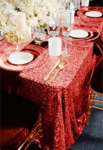 Sequins Velvet Christmas Dinner Tablecloth